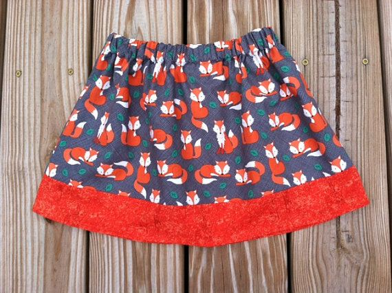 Girls skirt with foxes | girls A-line fall skirt | Elastic stretch fit waist fits multiple sizes in just one skirt!