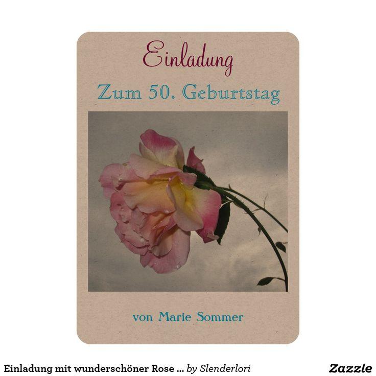Einladung mit wunderschöner Rose und Gedicht