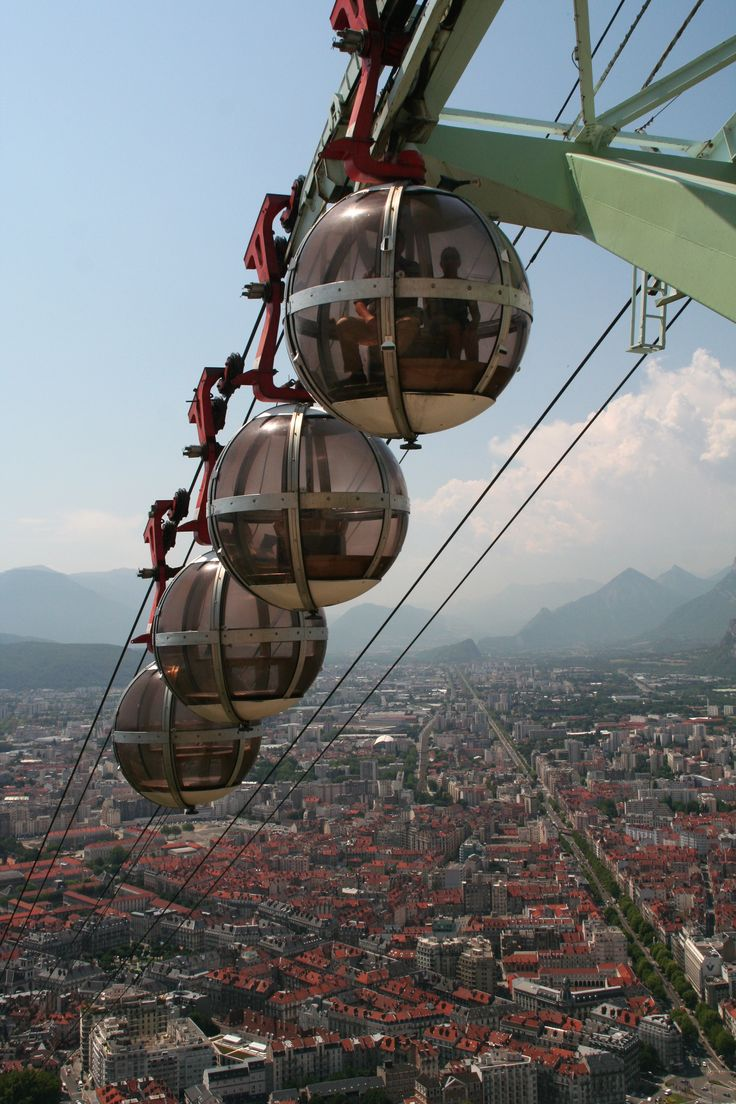 Grenoble cable cars view from Bastille - gorgeous up there. You can see Mont Blanc