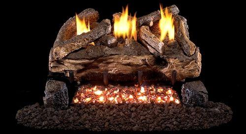 Real Fyre See Thru Evening Fyre Split Ventless Gas Logs Set with Variable Flame Remote Pilot Kit