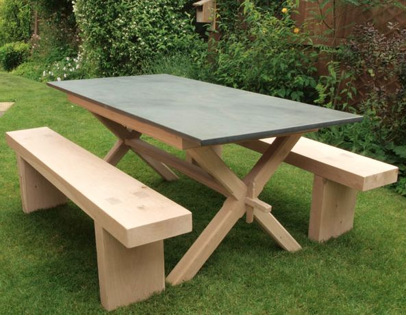 slate top table for the garden with garden benches www.slatetoptables.com