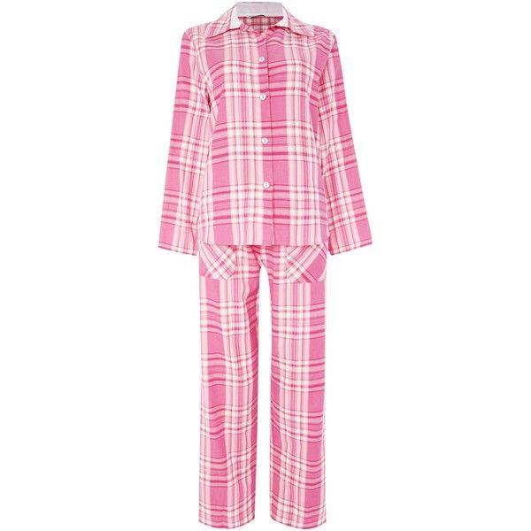 Cyberjammies Check PJ Set ($68) ❤ liked on Polyvore featuring intimates, sleepwear, pajamas, pink, women, cotton pjs, pink sleepwear, cotton sleepwear, pink pajamas and pink pjs