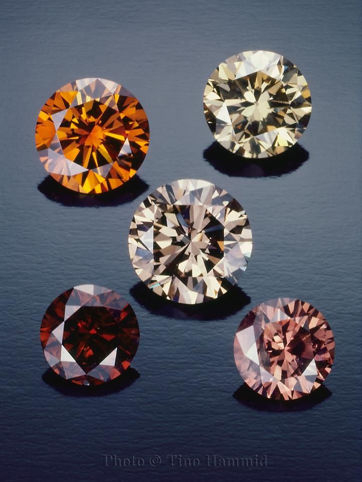 Often referred to as 'Champagne' or 'Cognac', these natural fancy diamonds are just some of the beautiful gemstones featured in this years edition of The Handbook of Gemmology and photographed by Tino Hammid.