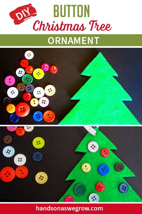 Cute Diy Button Christmas Tree Ornament Diy Christmas Tree Ornaments Preschool Christmas Activities Christmas Ornaments To Make