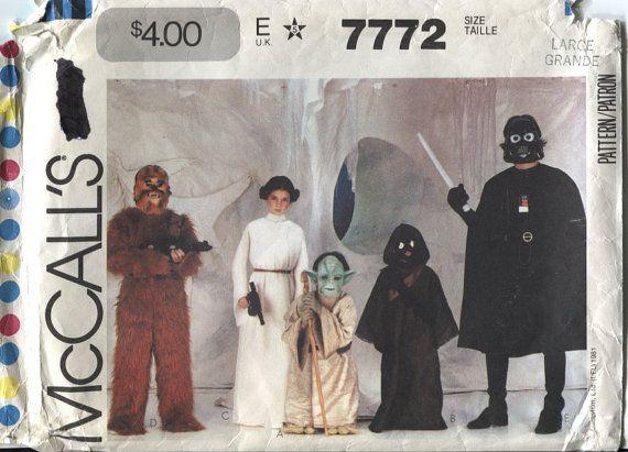 McCalls 7772 - Star Wars Costume Pattern-  Childrens Size Large - Darth Vadar - Yoda - Jawa - Chewbacca and Princess Leia
