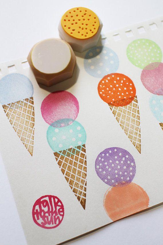 ice cream stamp set. ice cream cone stamp. sweets door talktothesun
