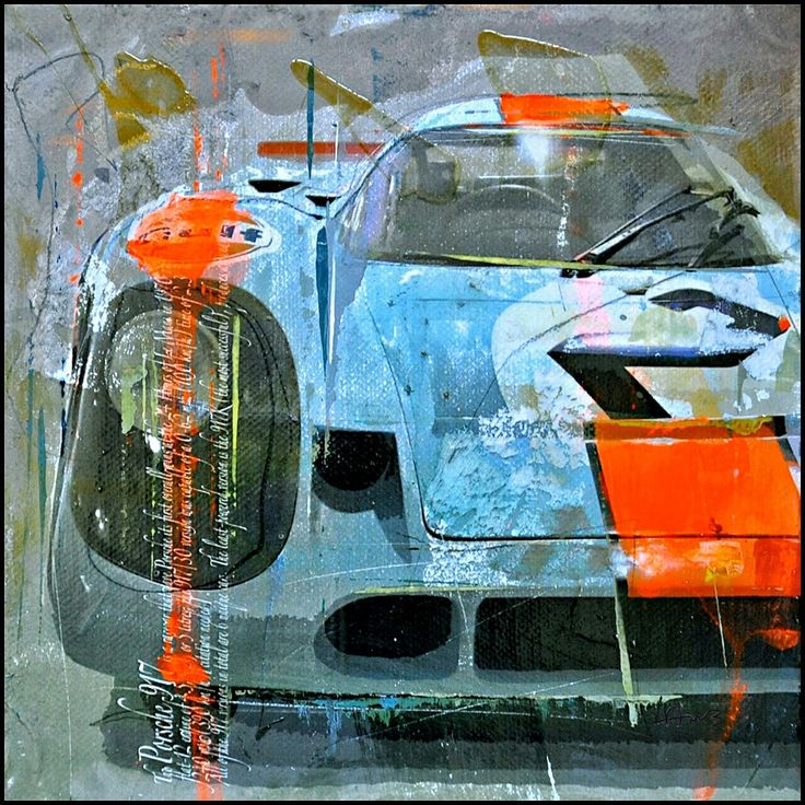 1970 Le Mans Porsche 917 in Gulf livery by Markus Haub.  The legendary 917 featured a 4.5-liter twelve-cylinder engine that delivered 580 hp and set new speed records at Le Mans. German artist Markus Haub transformed the motorsport legend into a pop art icon in his striking artwork.