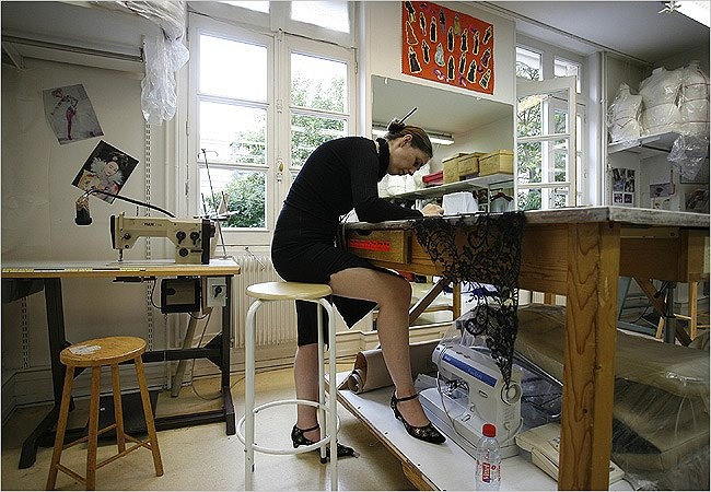 There are some machine sewing used, but only where it's necessary.    A Peek Inside The Haute Couture Ateliers