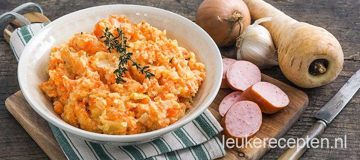 pastinaak wortelstamppot  Tip: beetje geitenkaas (zat in vegaburger)
