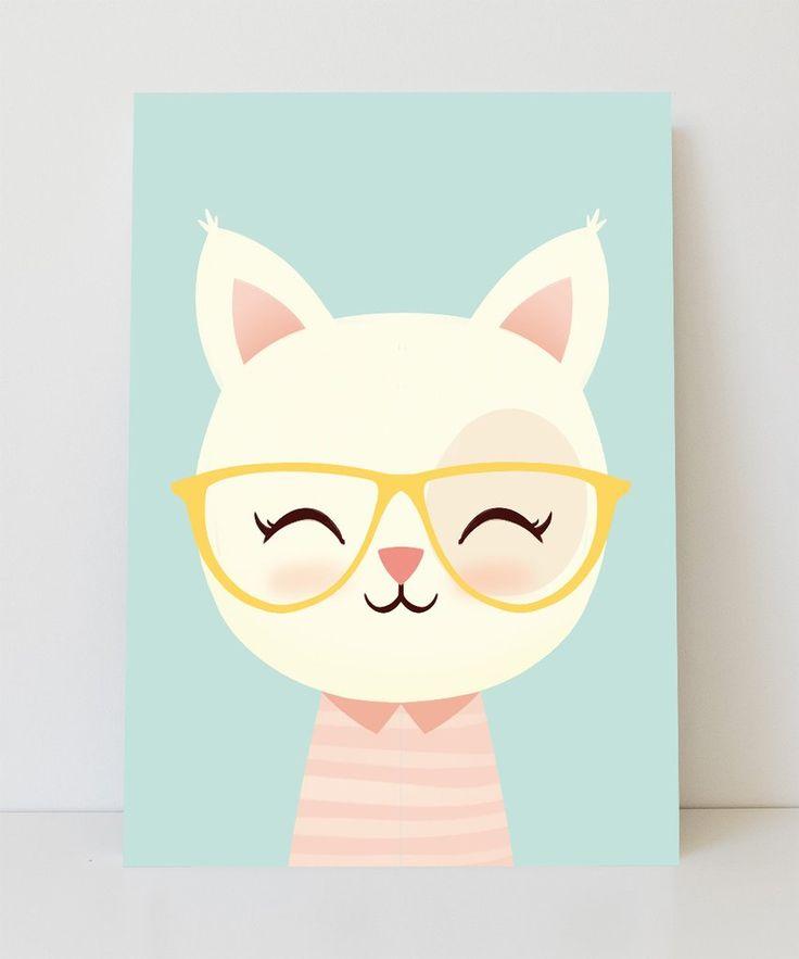 Lámina gatita con gafas amarillas