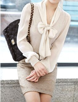 Women's Top with Chiffon Bow and Sleeves