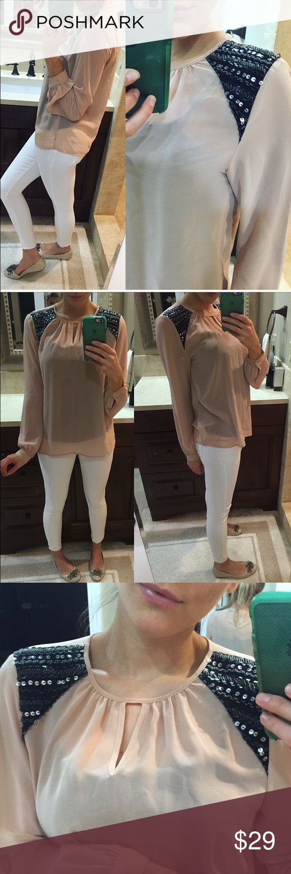 Nude Cami Beautiful and classy, perfect for a polished look. Love the embelished shoulder detail. Nwot Tops
