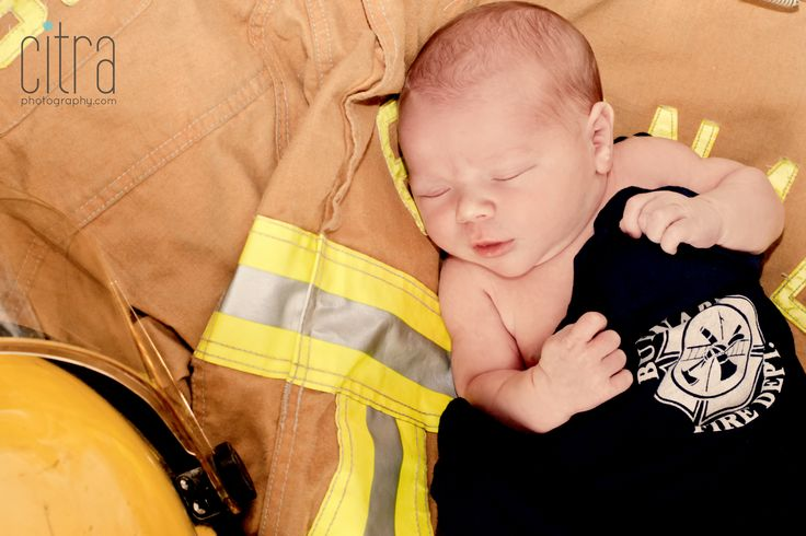 Newborn Photography. Baby. Firefighter