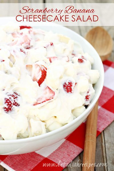 Strawberry Banana Cheesecake Salad Recipe | Strawberries, bananas and marshmallows are folded into a mixture of whipped cream and pudding. Perfect for potlucks!