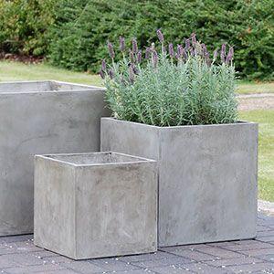 outdoor planter pots   ... Residential Poolside – IOTA Venice Lightweight Concrete Planters