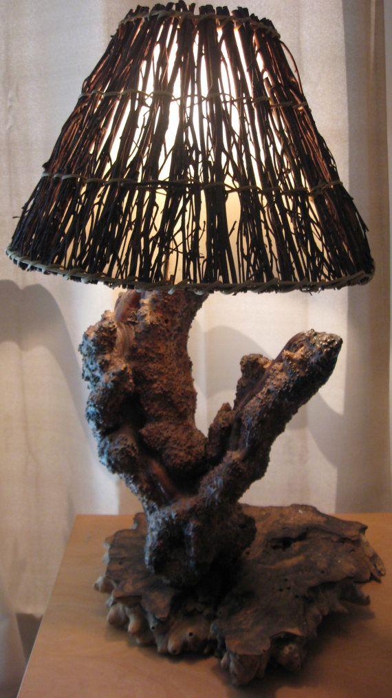 Antique Lamp Natural Tree Wood Rustic Primitive Black Burled Walnut Trunk Chocolate Grain RARE Vestiesteam wlv Team Homespunsociety Art Team...