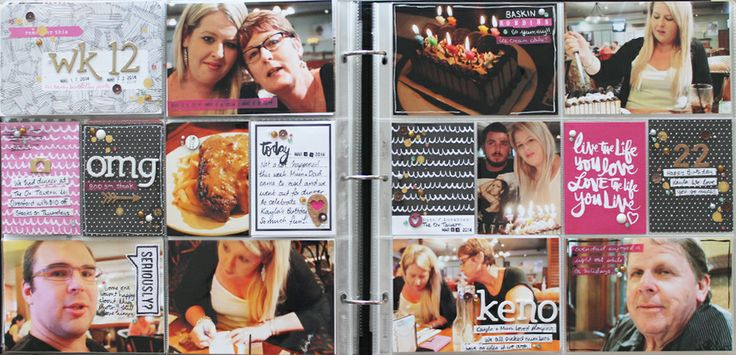 Project Life layouts by Renae Finlayson for Polly! Scrap Kits, using March Jellybeans kit, including Amy Tangerine Plus One