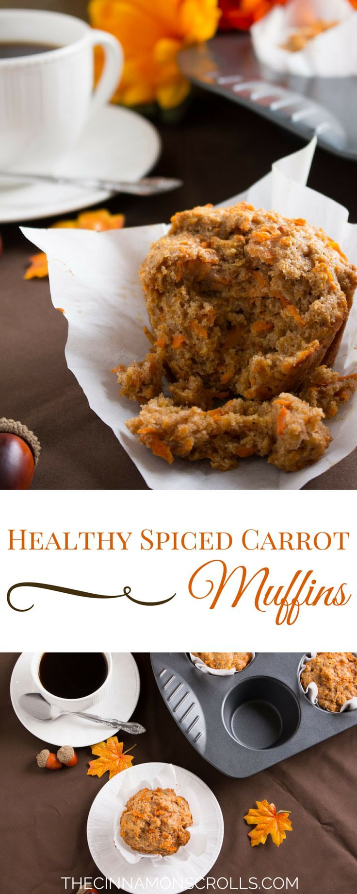 These spiced carrot muffins are perfect for fall when carrots are amazingly sweet. Loaded up with vitamins, fibre, protein, and calcium, they will get you through your busy morning with ease. And although they're healthy, I promise they taste nothing of the sort! | thecinnamonscrolls.com @cinnamonscribe