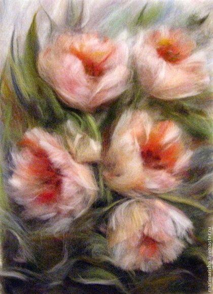 Картины цветов ручной работы. Ярмарка Мастеров - ручная работа Картина из шерсти Когда цвели тюльпаны. Handmade.