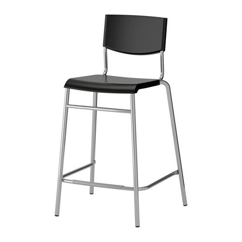 STIG Bar stool with backrest, black, silver color black/silver color 24 3/4   16.99each qty: 2