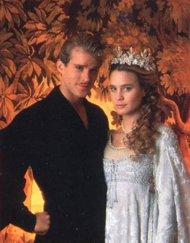 Cary Elwes and Robin Wright as Wesley and Buttercup from The Princess Bride.