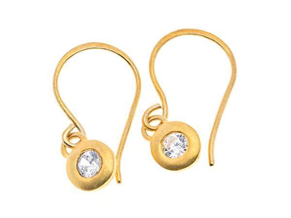 Crystal Pebble Gold Earring - Gold plated sterling silver - HeidisHoff.no