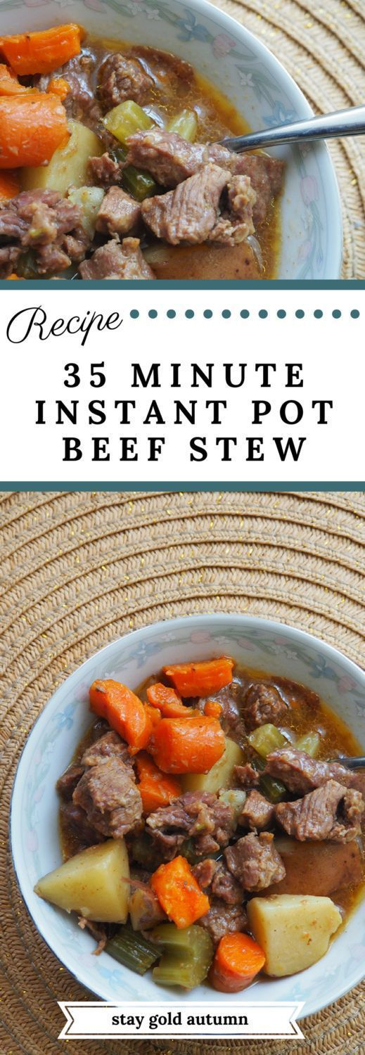 This 35 minute instant pot beef stew is delicious, easy, and a great replacement for your 4-6 hour slow cooker recipe!   via Stay gold Autumn