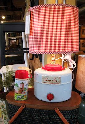vintage camping jug lamp...great idea for my jug! It leaks like crazy so this will give it a new life!