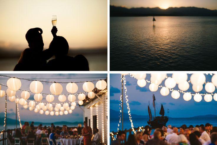 Sugar Wharf Port Douglas Wedding reception. The perfect Port Douglas wedding venue for your guests to enjoy the sunset.  Destination Wedding Photography. Wedding details. www.shaunguestphotography.com.au