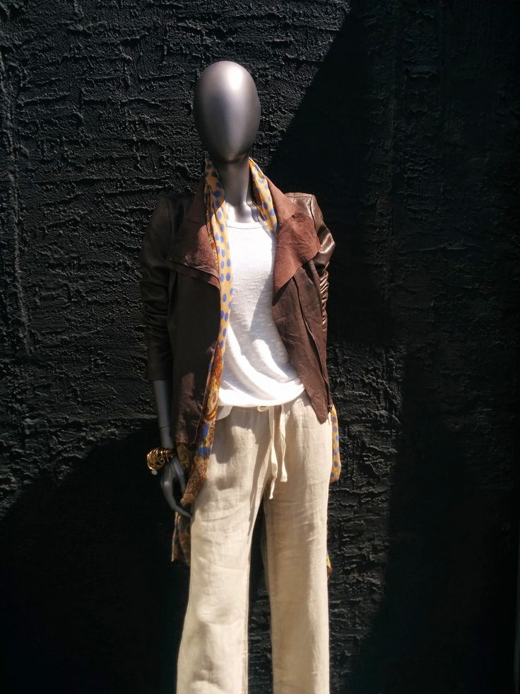 Pants by Lisa Todd. Shirt by LNA. Topped with a Leather Jacket by Cigno Nero