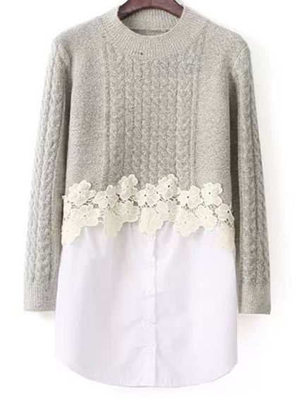 Cable Knit Lace Knit Light Grey Sweater