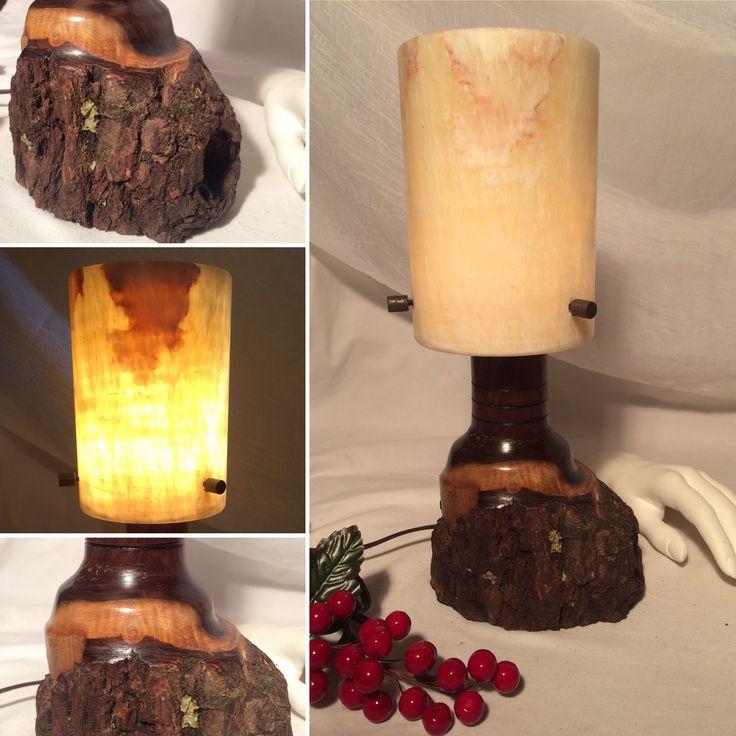 Walnut Lamp with Stone Shade.