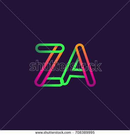 initial logo letter ZA, linked outline colorful rounded logotype