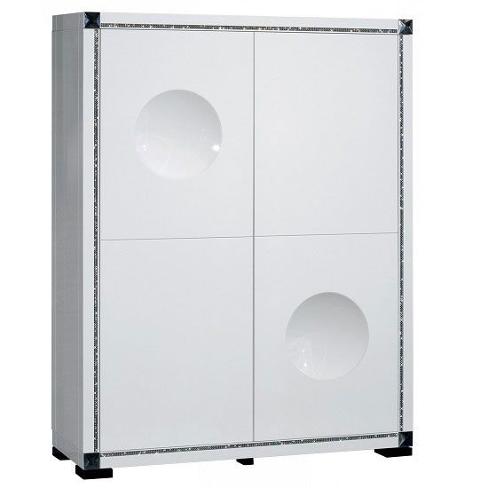 Jerold Bar Unit In White With 4 High Gloss Doors And Rhinestones - Buy Bar Tables, Furnitureinfashion UK