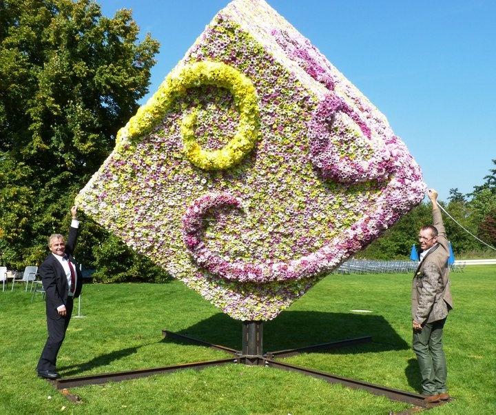 Fachverband Deutscher Floristen und Blumenbüro Holland präsentieren:   Größter Blumen-Würfel aus gesteckten   einzelnen Chrysanthemen-Blüten ! Guiness-World Records Versuch ! —