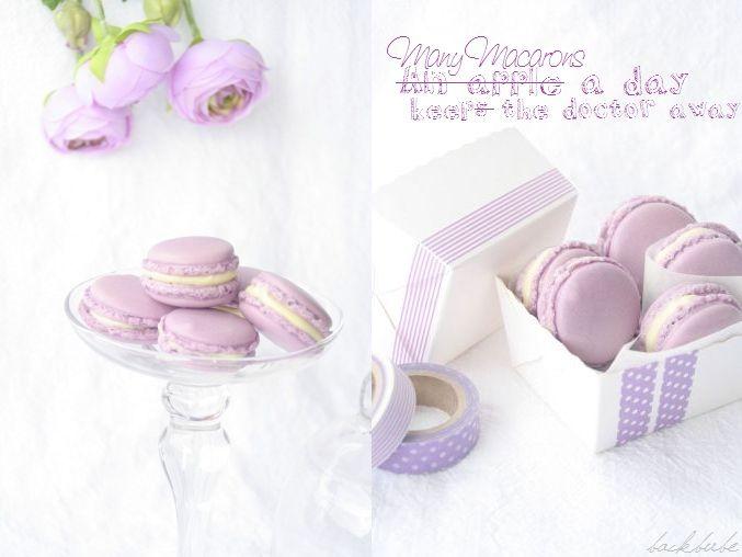 Macarons mit weißer schoko ganache