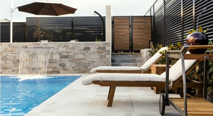 "Mayfair Homes ""The CUrzon"" - 4 Xenica Street, Wright ACT HNT series tiles around the pool area  We can see many summers being spent here!"
