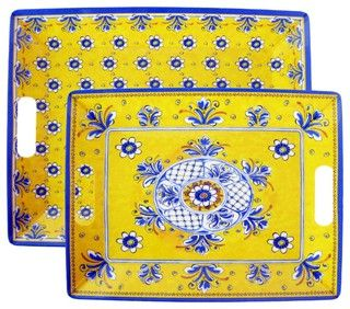 """Le Cadeaux Benidorm Yellow Nesting Melamine Outdoor Serving Trays include the large tray 18"""" x 14"""" and small tray 16.5"""" x 12.5"""". Stunning provincial styling these melamine square dinner plates will enhance any table setting indoors or outdoors. You will not know its melamine until you pick it up since it looks like ceramic."""