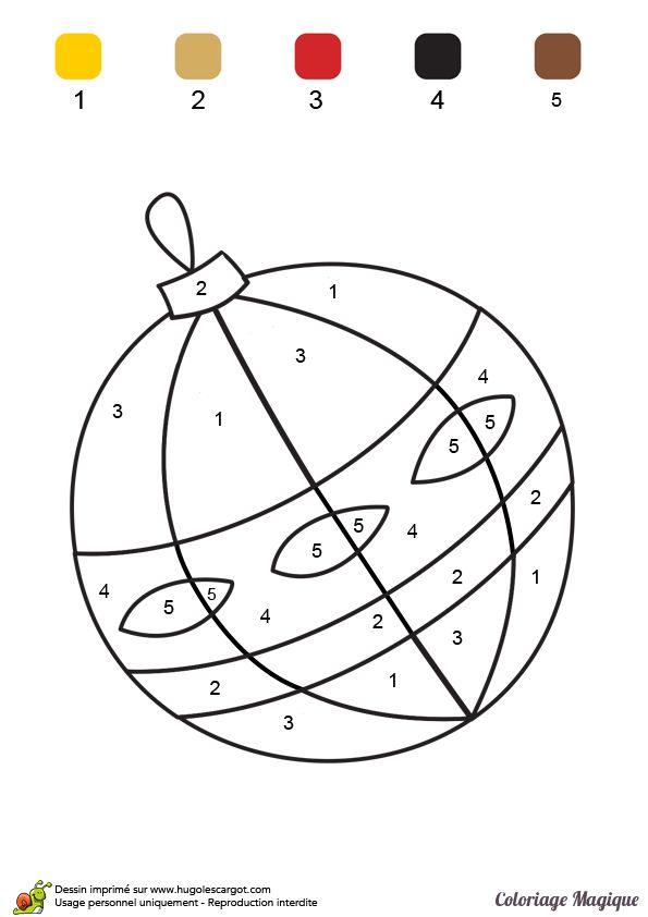 Coloriage magique niveau CP, une chouette boule de Noël - Hugolescargot.com