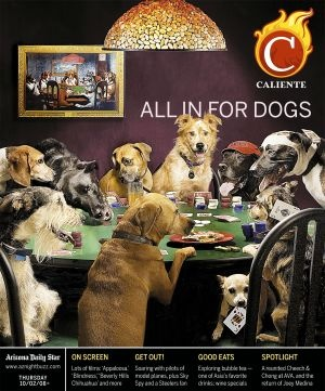 A poker party with dogs graces the cover of Caliente's special dog issue of Thursday October 2, 1985. Photography by Ron Medvescek of the Arizona Daily Star.