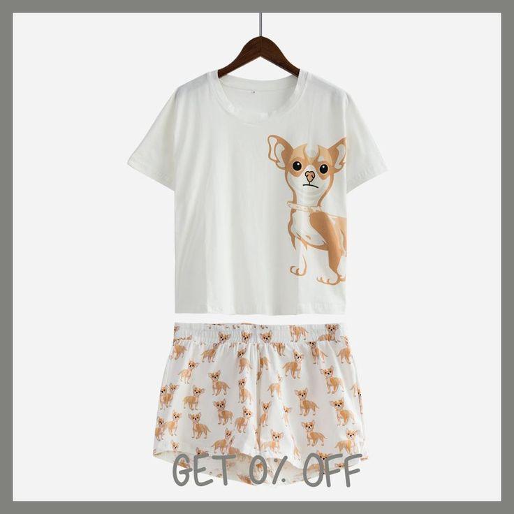 Cute Pajama Sets Cotton Chihuahua Print Crop Top + Shorts 2 Pieces Set Dog Pajamas Loose Tops Elastic Waist Casual S61003