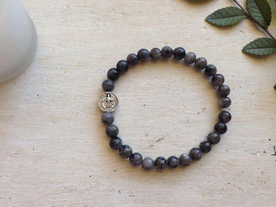 St. Benedict Bracelet - Marble Labradorite - Stackable Bracelet - Stone Bracelet - 6MM Beads