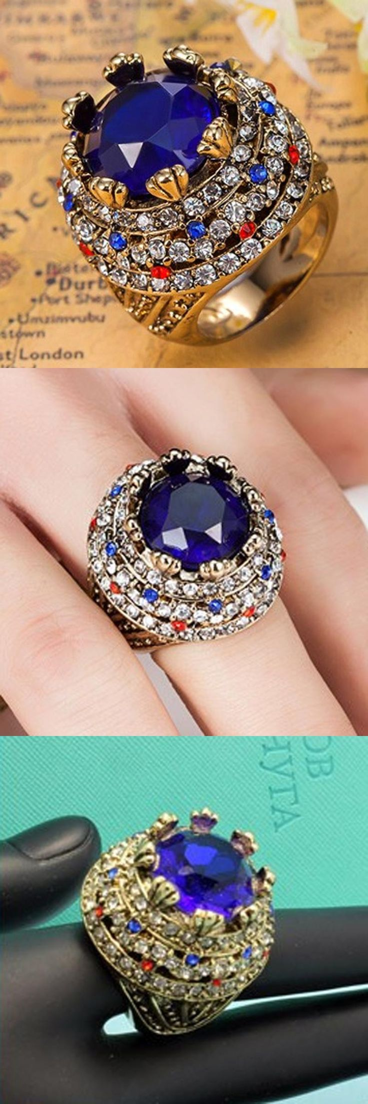 [Visit to Buy] Blucome Blue Rhinestone Rings For Women Turkey Turkish Jewelry Women's Vintage Aneis Mujer Fashion African Costume Jewelry Anel #Advertisement