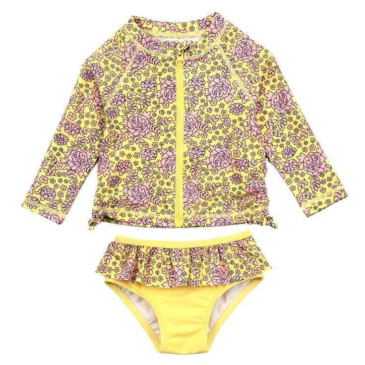 Baby//Toddler Boys Two Piece Swimsuit UPF 50 Sun Protection Long Sleeve Rashguard Set Bathing Suit
