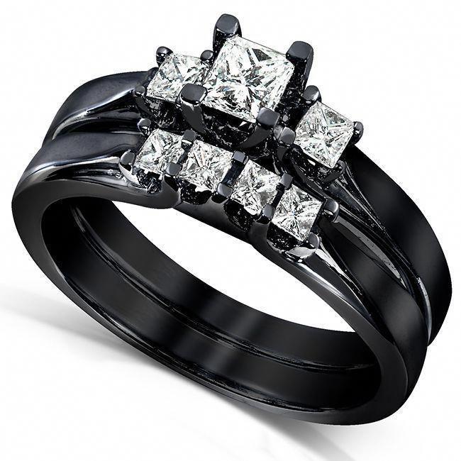 Black Gothic Princess Cut Diamond Bridal Ring Set Gothic