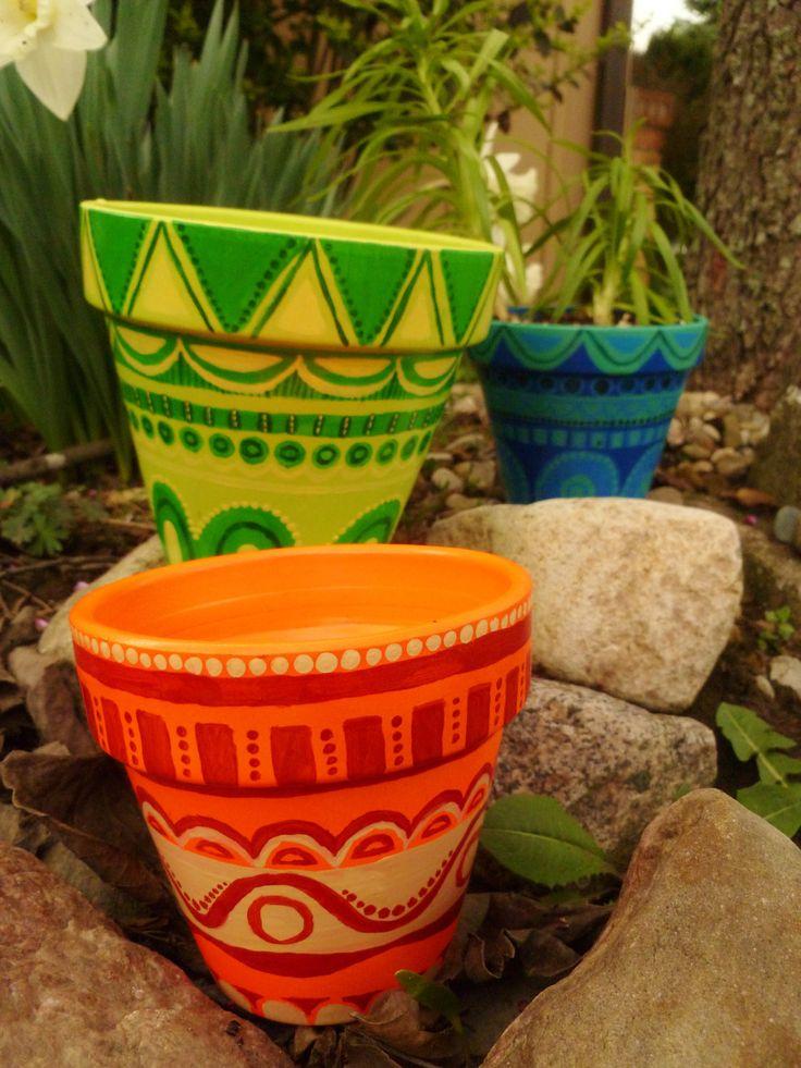 Hand Painted dream garden pot