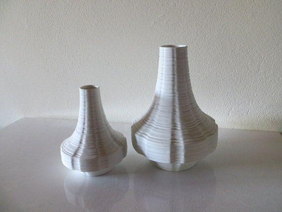 2 Op-art vases Heinrich Porzellan West Germany white biscuit porcelain relief…