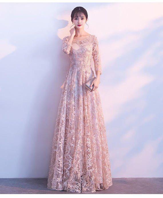 Champagner Farbe-Cocktail-Kleid / Brautjungfer Kleid mit Chiffon Rock / lange Brautjungfernkleid / Maxi Kleid / Abend Kleid Farbe: Champagner Dimensionierung (US-Frauen) ===================================================...