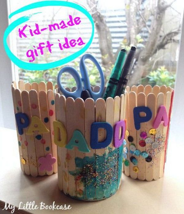 Paddlepop Stick Pencil Holders. This is another upcycling project that is really fun as well as useful. It is great for s school or kindergarten project, but it can also be done at home, provided that you can get enough paddles for it.