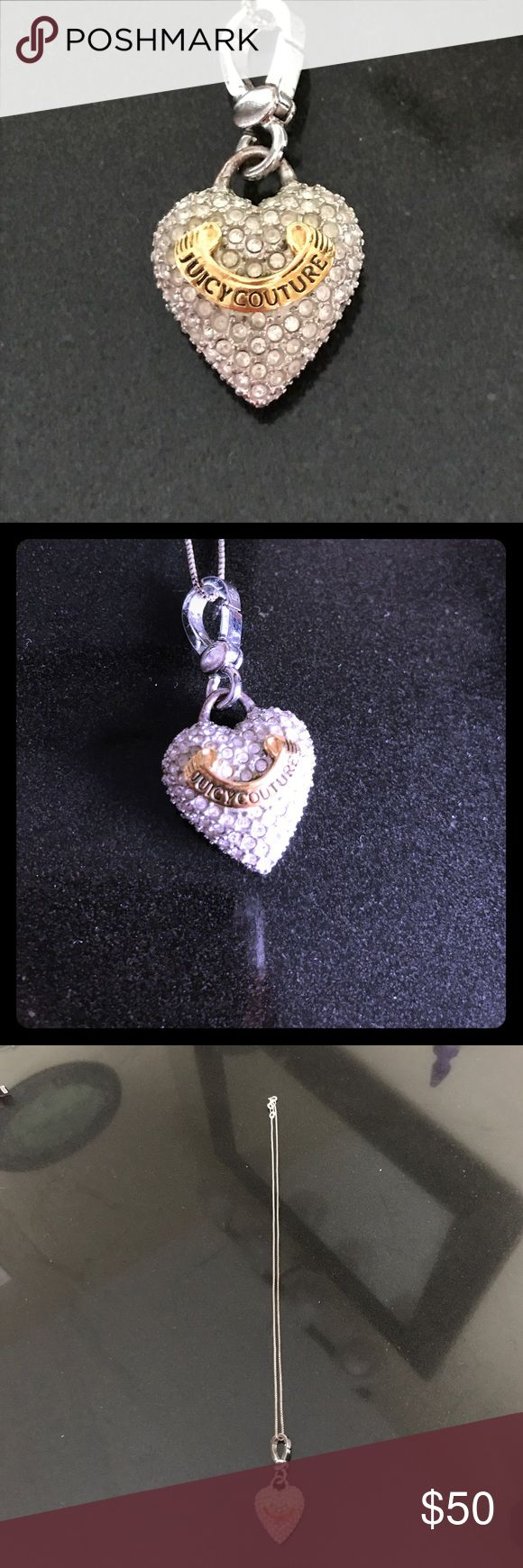 Juicy couture heart necklace Juicy couture necklace. Jeweled heart with gold banner with juicy couture written on it. 50 for the chain and charm. 30 for just the charm. Juicy Couture Jewelry Necklaces